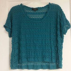 Teal open-knit crochet flowy top