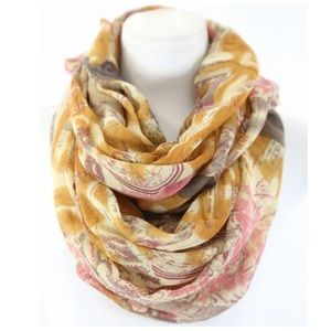 B138 Bronze Vintage Passport Map Infinity Scarf