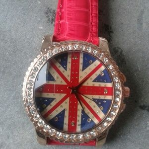 Union Jack British Flag watch with red band