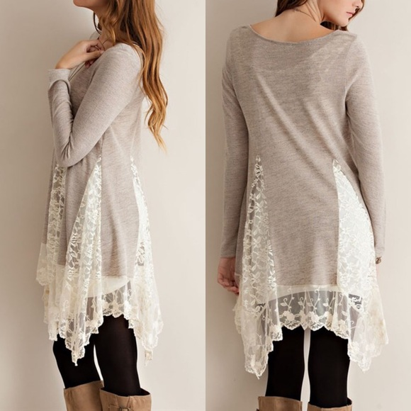 99% off Tops - 🆕The FAITH lace tunic sweater - SAND from ...