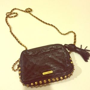 REBECCA MINKOFF  BLACK PURSE WITH GOLD SPIKES