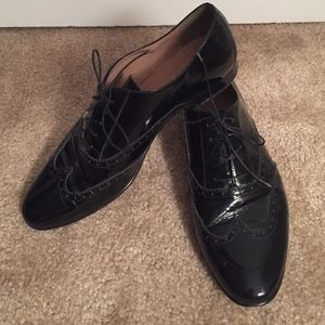 J.Crew black patent oxfords