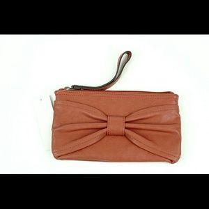 Coral bow wristlet