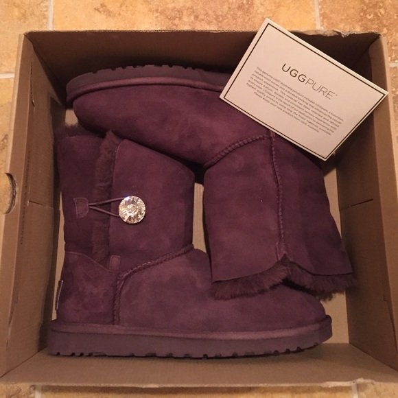 5d9324dd8a1 Brand New UGG Bailey Button Bling Boots in Plum NWT