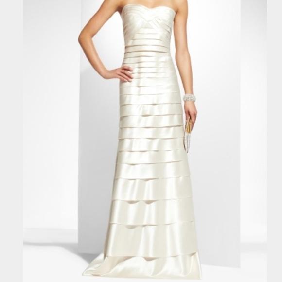 BCBGMaxAzria Dresses | Satin Bcbg White Long Dress | Poshmark