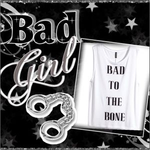 "H&M ""Bad To The Bone"" Muscle Tee"