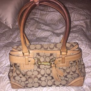 Beige and cream coach handbag