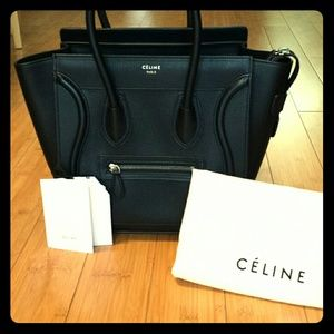 CELINE Smooth Calfskin Micro Luggage Black