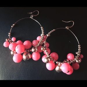 Jewelry - Large gold & pink earrings