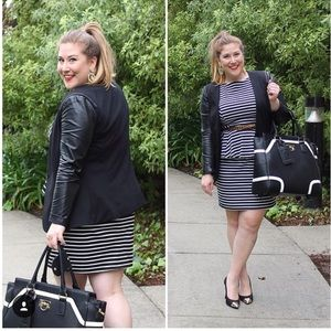 Striped Black and White Peplum Dress