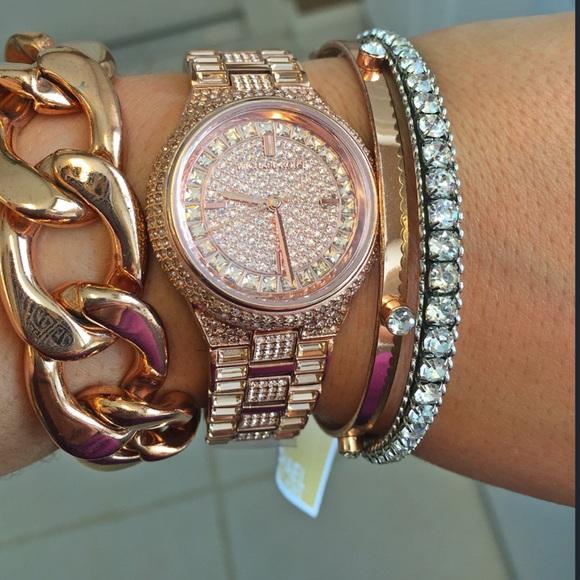 4616e5803296 Rose gold Camille glitz Michael kors watch