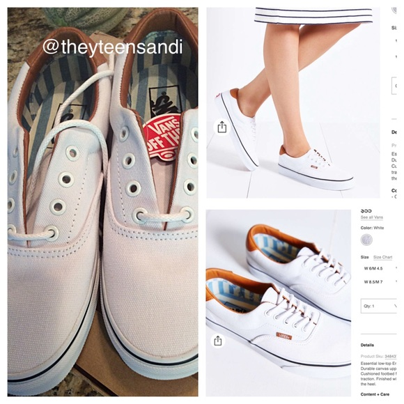 6c86915413a78d Vans White Era 59 Washed Canvas + Leather Sneaker