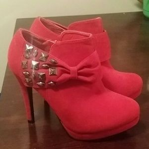 Red Bow Ankle Boots