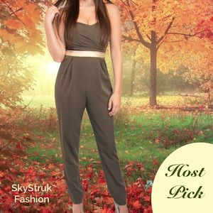 Mustard Seed Pants - SALE 🎉HP🎉 Green Jumpsuit Gold Waist Band