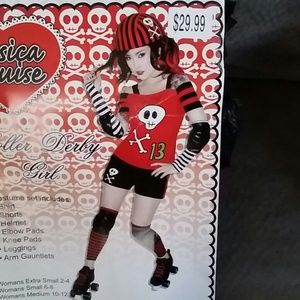 jessica louise other roller derby girl halloween costume 7 pc set med