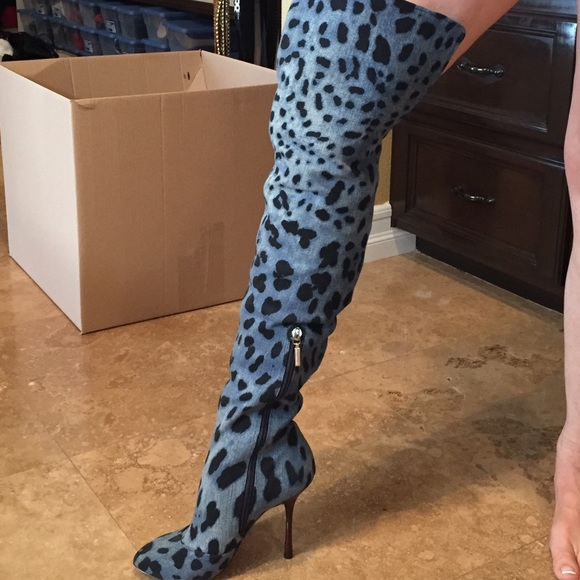 58% off Dolce & Gabbana Shoes - Dolce Gabbana leopard denim Thigh ...