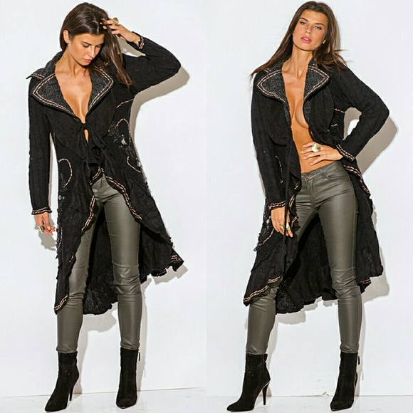 Boutique - Last Black Long Sweater cardigan Coat Duster Sexy from ...