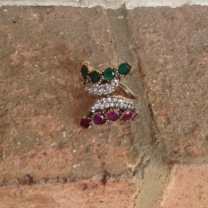 Jewelry - HANDCRAFTED RUBY EMERALD TOPAZ RING
