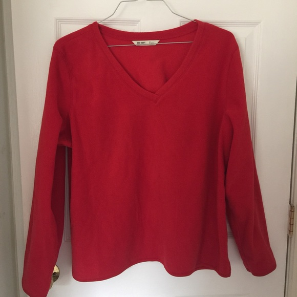 Old Navy - NWOT Old Navy Red V-neck Fleece Sweater. from Denise's ...