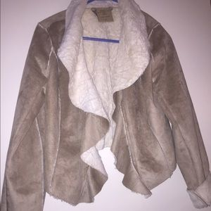 Suede Jacket with Faux shearling lining.