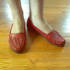 Vintage red leather loafers
