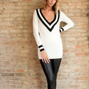 Bare Anthology Tops - White Varsity Sweater Top
