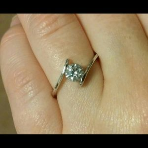 CZ Silver 925 Solitaire Cocktail Ring Size 5.5