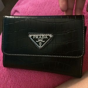 auth prada black nylon wallet