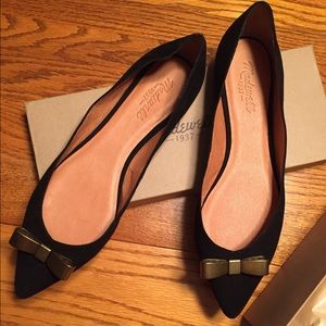 "Madewell ""The Skimmer"" Metal Bow Black Suede Flats"