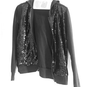 Black sequin hooded jacket from Forever 21!