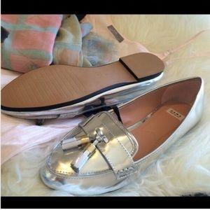 6497cb8f572 Zara Shoes - ZARA SILVER LOAFERS W  TASSELS NWT FLATS