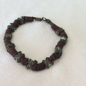 3 for $15 Brass X brown leather free bracelet new
