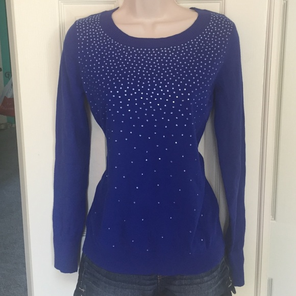 5ab5e4b3c9d Express Sweaters - NWOT- Express Blue Sweater With Rhinestones