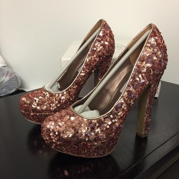 56% off Steve Madden Shoes - SOLD - Rose gold sequin high heel ...