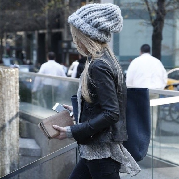 Accessories - Gray grey chunky knit beanie winter fall soft