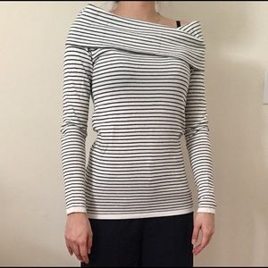 Zara stripe open shoulder sweater