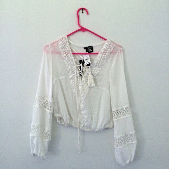 41% off LF Tops - LF flowy white lace up shirt from Mary's closet ...