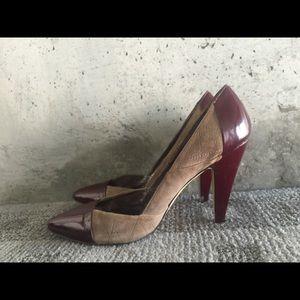 Nicole miller gray suede and patent burgundy heel