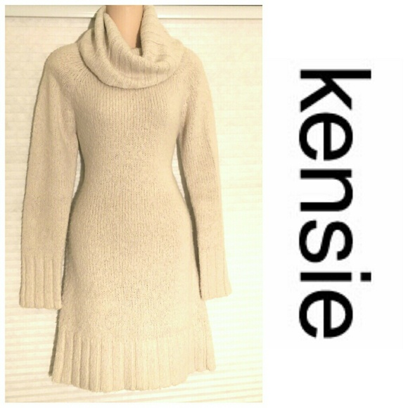 Kensie Dresses Cream Colored Sweater Dress Poshmark