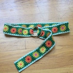 Accessories - Green floral belt w/ gold buckle