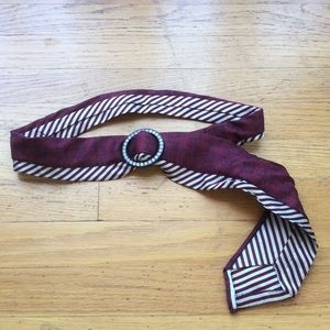 Accessories - Red& white Tie Belt w/ Crystal Buckle