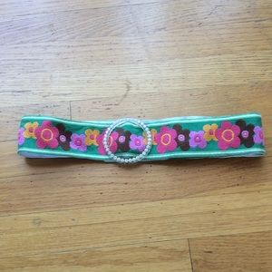 Accessories - Green floral belt w/ crystal buckle