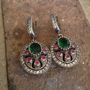 Jewelry - HANDCRAFTED Ruby Emerald TOPAZ Earrings