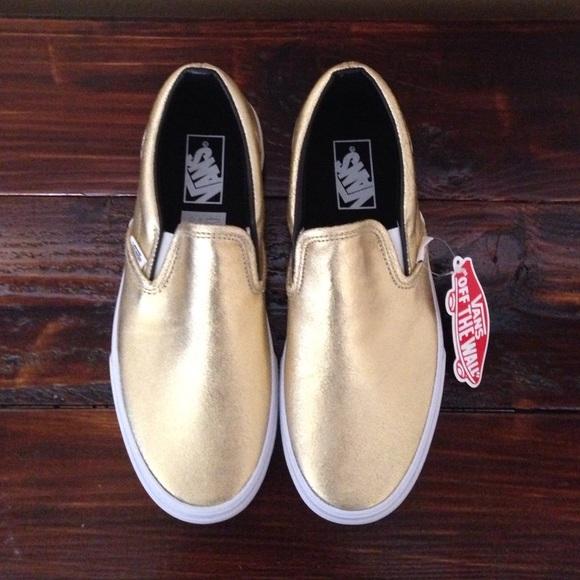 vans slip on gold