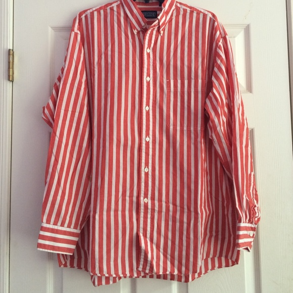 65% off Lands' End Tops - 90s Unisex Red and White Striped Button ...
