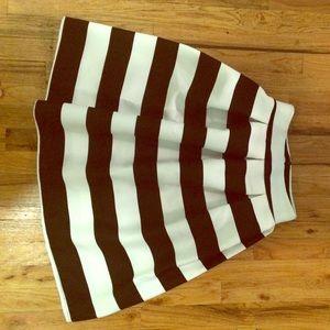 N/A Dresses & Skirts - Striped Flare Pleated Midi Skirt