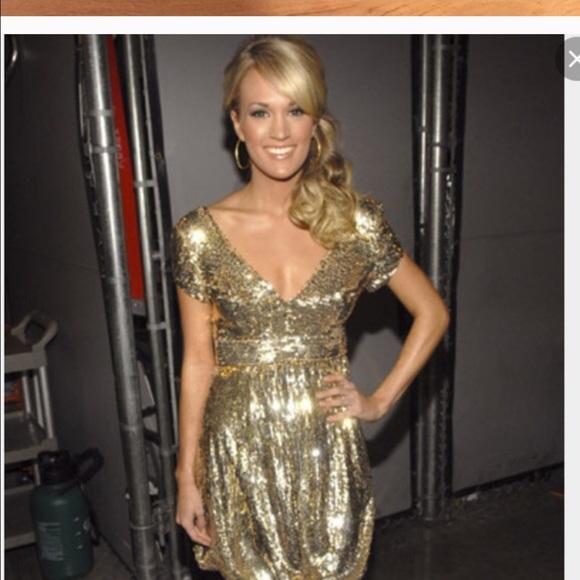 85% off Dolce Jovani Dresses &amp- Skirts - Dolce Jovani Gold Sequin ...