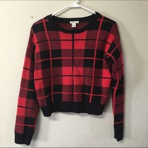 Sweaters - Plaid cable knit crop sweater