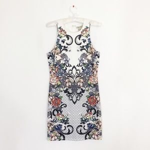 Floral Body-Con Stretchy White Dress
