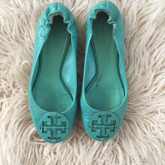 c8b5f96ade29 ... best price tory burch turquoise tumbled patent leather flats af530 c4e38
